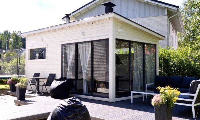 Huone1 Moderni Sauna ja lasitettu pihahuone SH180