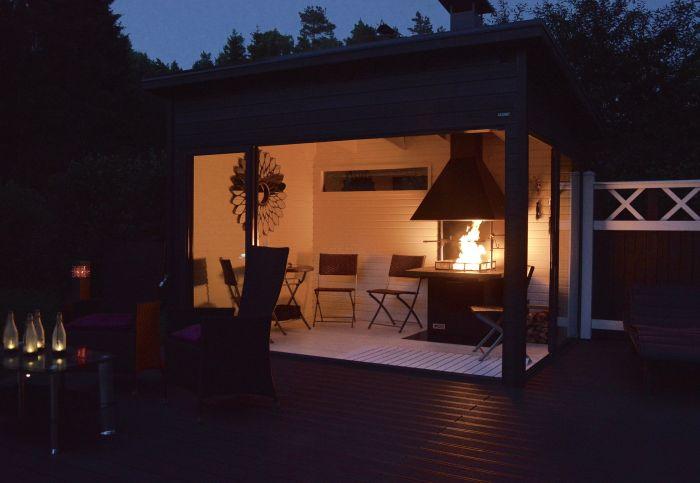 Huone1 Pihahuone H80 ja neliögrilli seinänvierimallina