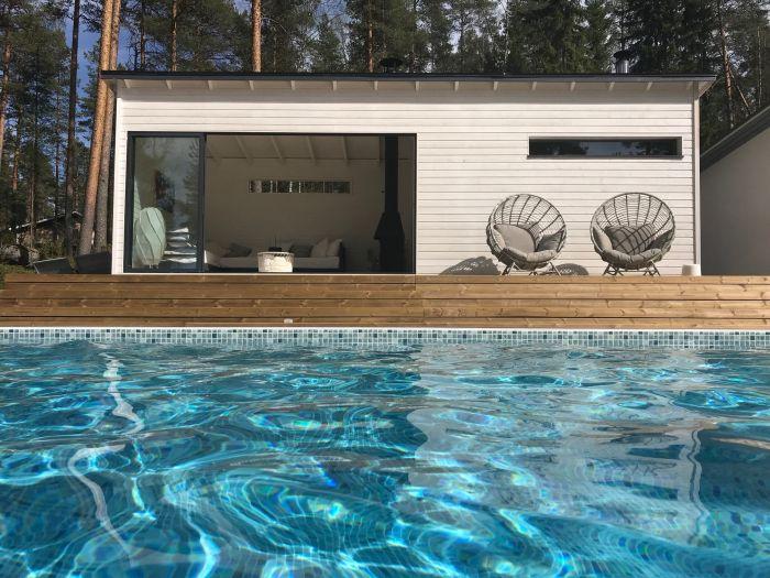Huone1 Sauna+pukuhuone+lasitettu puutarhan olohuone SPH255