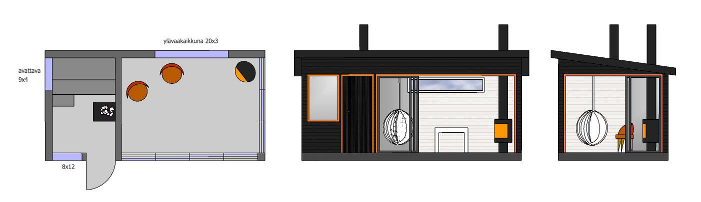 SAUNA+HUONE SH180 saunasta-käynti-ulos,-etu--ja-päätyseinä-liukulasia