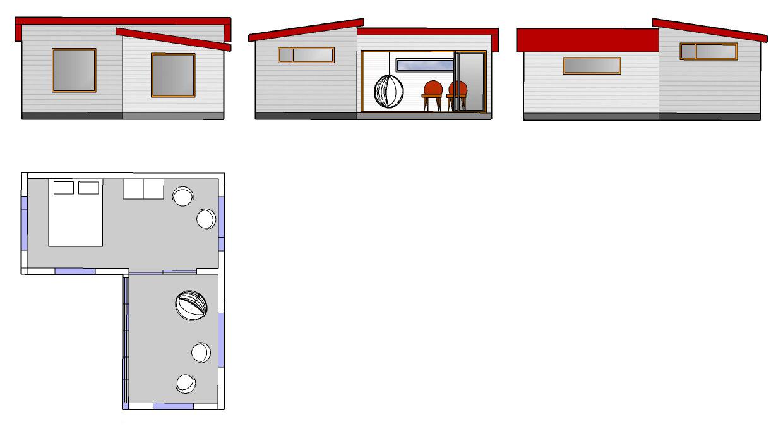 Vierasaitta H180 kesähuone H120 L-malli