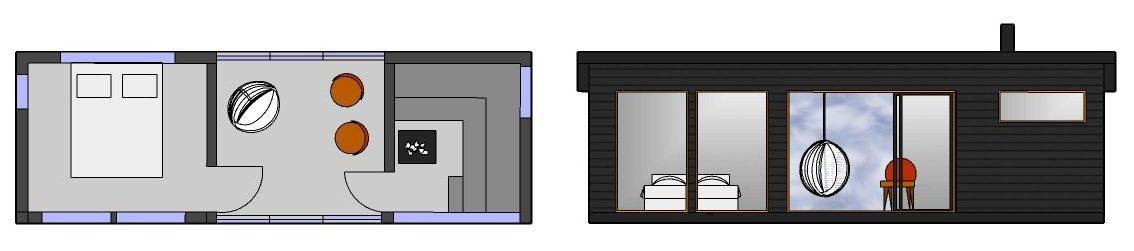 Huone1 ulkosauna, lasitettu huone ja vierashuone SHH270