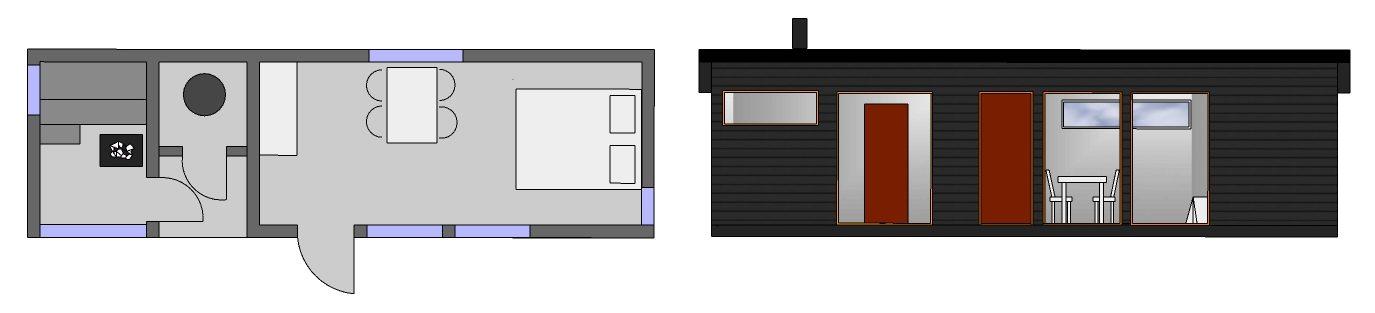 Huone1 sauna, biokäymälä ja vierasaitta 30 m2