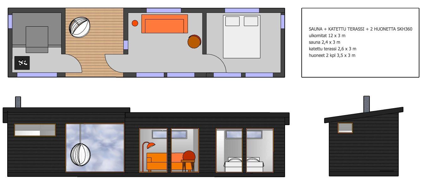 Huone1 sauna, katettu terassi ja kaksi huonetta 36 m2