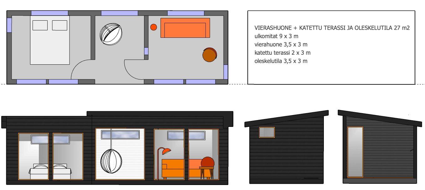 Huone1 vierashuone + katettu terassi + oleskelutila 27 m2