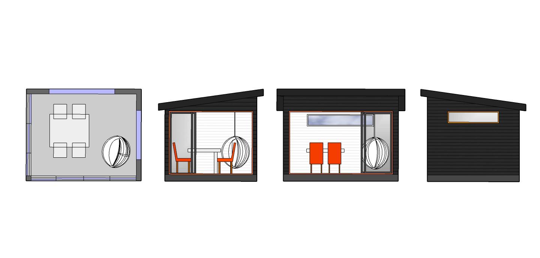 Suosittu moderni Huone1 lasitettu kesähuone