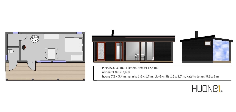 Huone1 moderni suosittu pihatalo