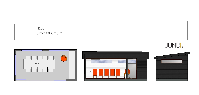 Huone1 suosittu lasitettu Pihahuone H180