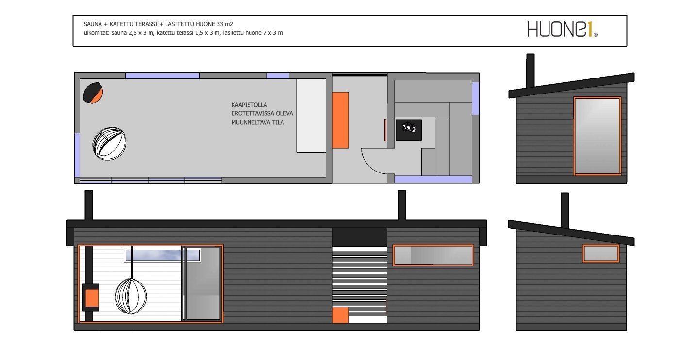 Suosittu Huone1 yhdistelmä sauna+katettu terassi+huone