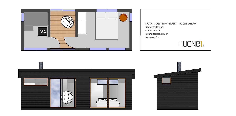 Huone1 moderni sauna+lasitettu terassi+huone
