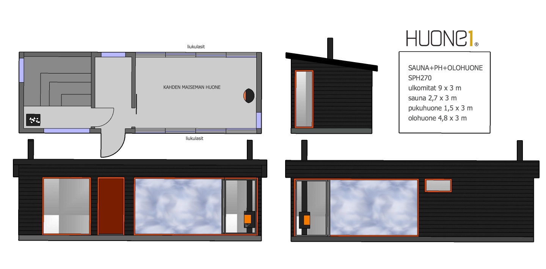 Huone1 suosittu sauna+ph+puutarhan olohuone